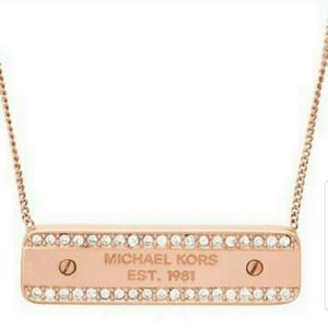 NWT Michael Kors Rose Gold Pave Crystal Necklace